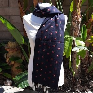 Gucci new navy blue floral cashmere silk scarf